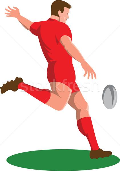 Rugby Player Kicking Ball Retro Stock photo © patrimonio