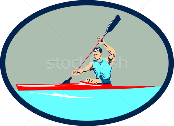 Kayak Racing Canoe Sprint Oval Retro Stock photo © patrimonio