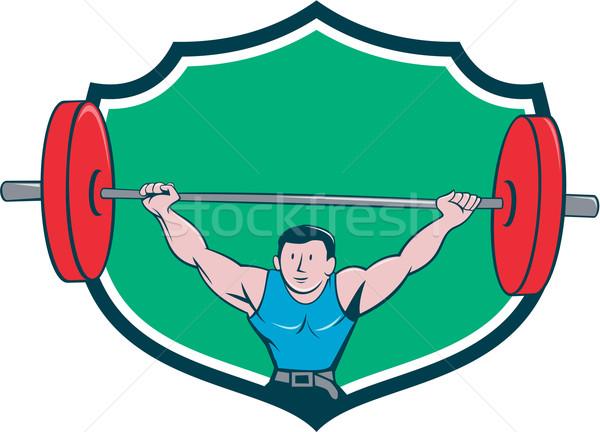 Gewichtheffer gewichten schild cartoon illustratie Stockfoto © patrimonio