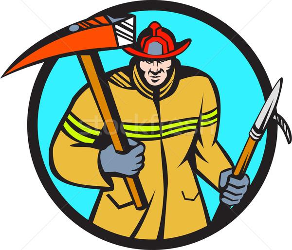 Pompiere pompiere fuoco ax gancio cerchio Foto d'archivio © patrimonio
