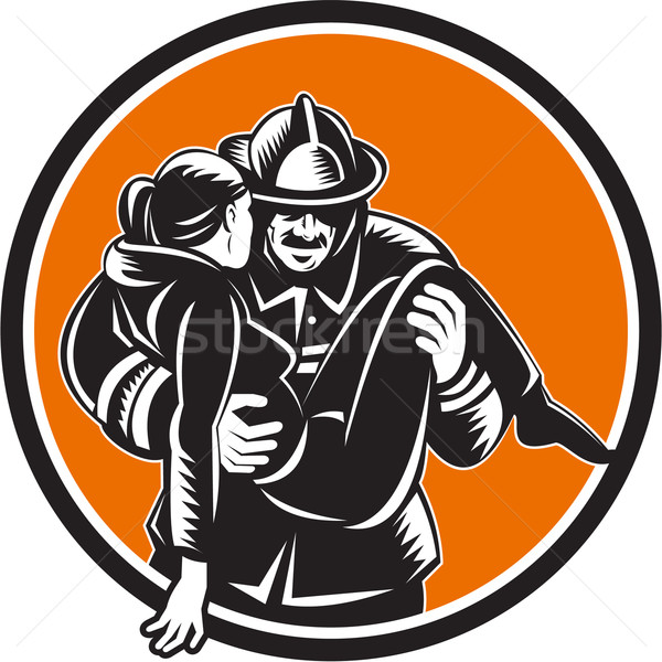 Fireman Firefighter Saving Girl Circle Woodcut Stock photo © patrimonio