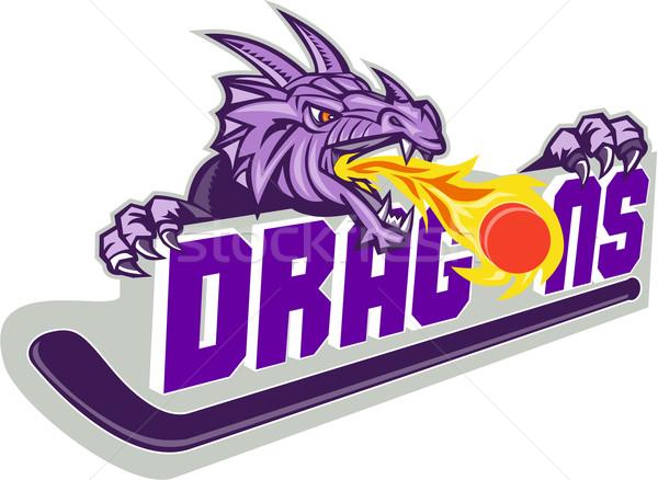 Dragon Fire Puck Hockey Stick Retro Stock photo © patrimonio