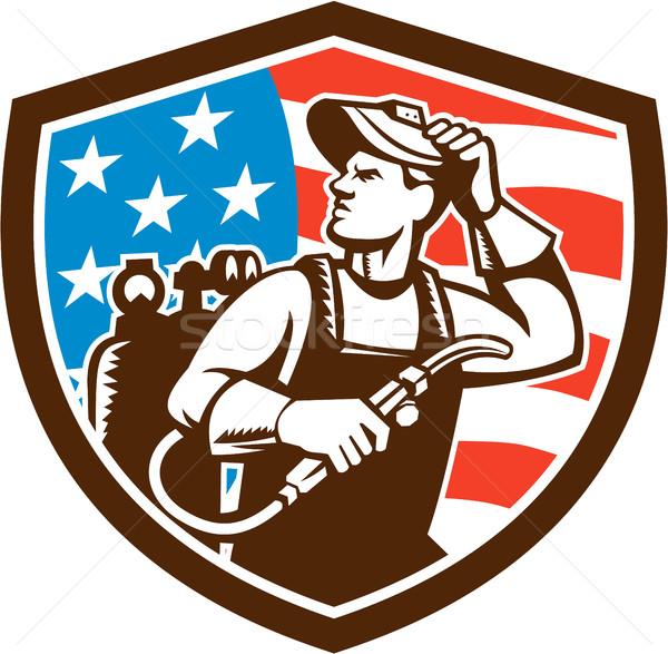 Hegesztő néz oldal USA zászló címer Stock fotó © patrimonio