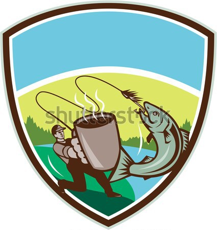 Mug Fly Tackle Bait Box Rod Reel Crest Woodcut Stock photo © patrimonio