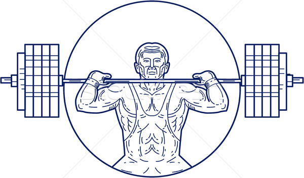 Strongman Lifting Weight Mono Line Stock photo © patrimonio