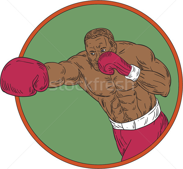 African-American Boxer Right Hook Circle Drawing Stock photo © patrimonio