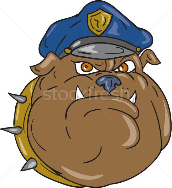 Bulldog rendőr fej rajz illusztráció rendőrtiszt Stock fotó © patrimonio