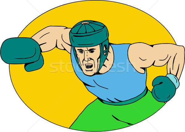 Amator bokser rysunek szkic stylu ilustracja Zdjęcia stock © patrimonio