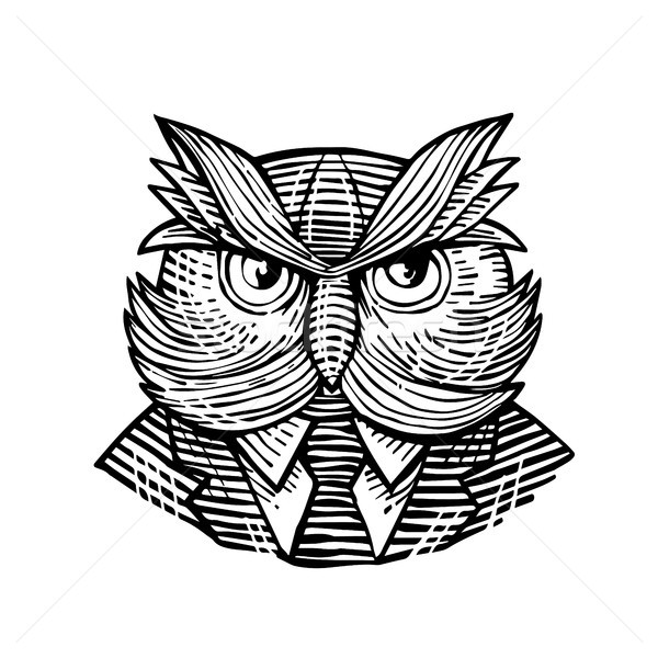 Hip Wise Owl Suit Woodcut Stock photo © patrimonio