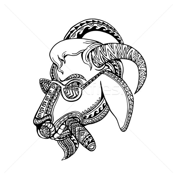 Goat Cigar Tribal Tattoo Style Stock photo © patrimonio