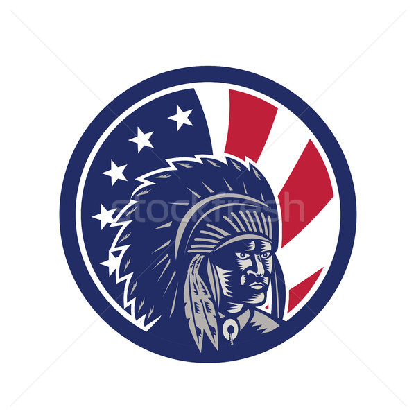 Native American Indian Chief USA Flag Icon Stock photo © patrimonio