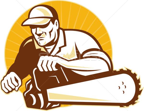 arborist tradesman cutter with chain saw Stock photo © patrimonio