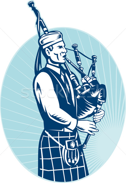 Bagpiper Playing Scottish Great Highland Bagpipe Stock photo © patrimonio