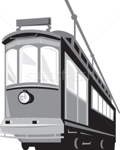 Klasszikus villamos vonat illusztráció alulról fotózva izolált Stock fotó © patrimonio