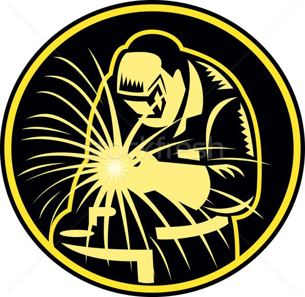 Welder With Welding Torch Visor Retro Stock photo © patrimonio