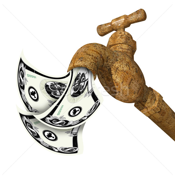 water faucet tap 3D render with money Stock photo © patrimonio