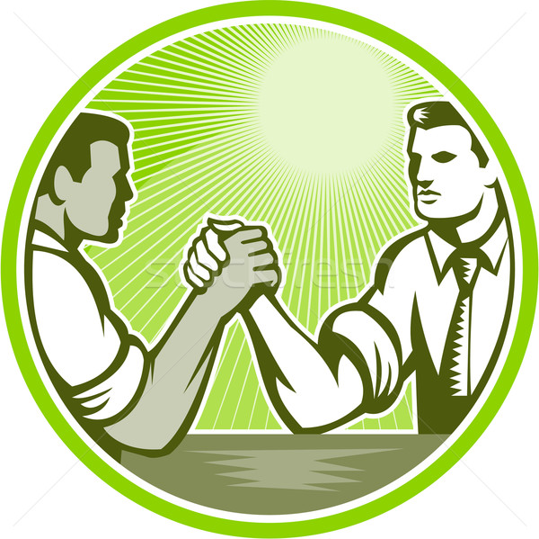 Businessman Office Worker Arm Wrestling Stock photo © patrimonio