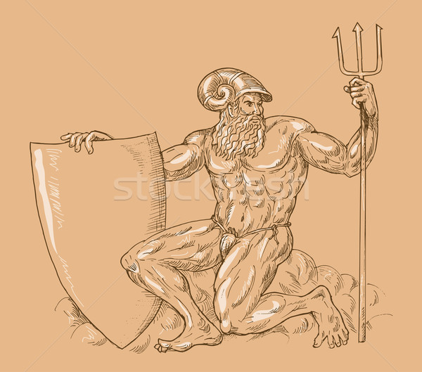 Roman God Neptune or poseidon with trident and shield Stock photo © patrimonio