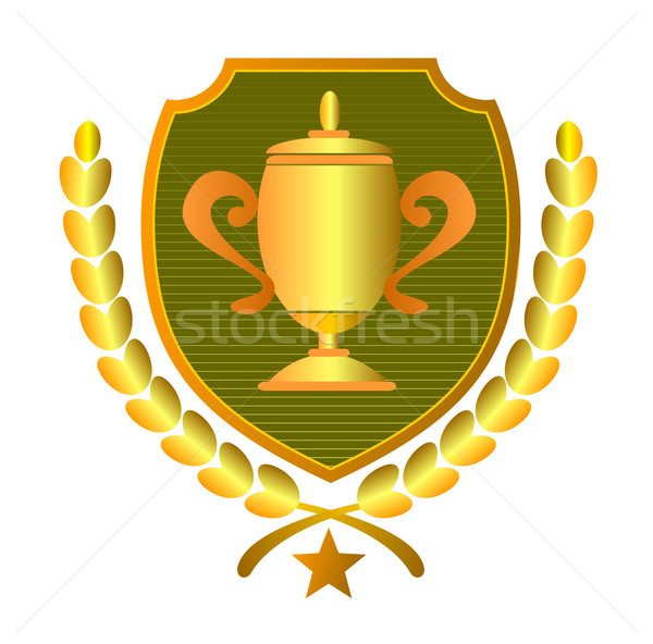 Stock photo: Championship Cup in Shield and Leaves