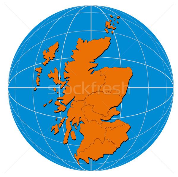 Wereldbol Schotland kaart illustratie geïsoleerd witte Stockfoto © patrimonio