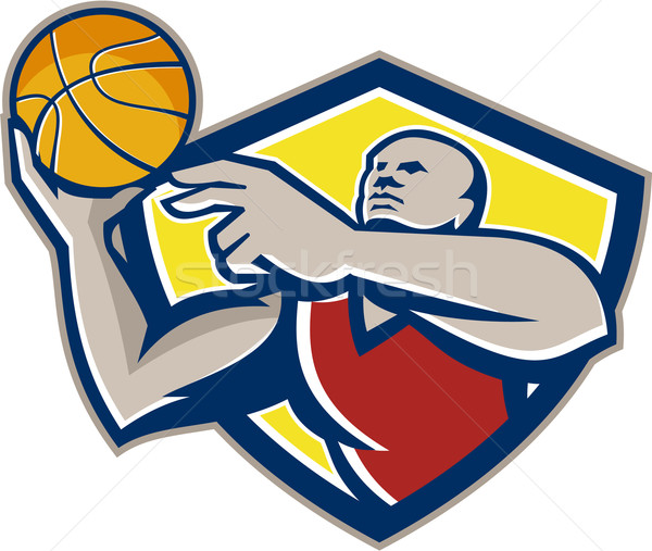 Basketball Player Laying Up Ball Retro Stock photo © patrimonio