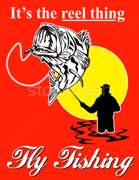 Fly fisherman catching largemouth bass with fly reel Stock photo © patrimonio