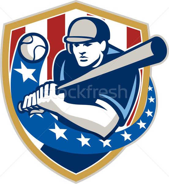 Baseball sterren retro illustratie amerikaanse Stockfoto © patrimonio