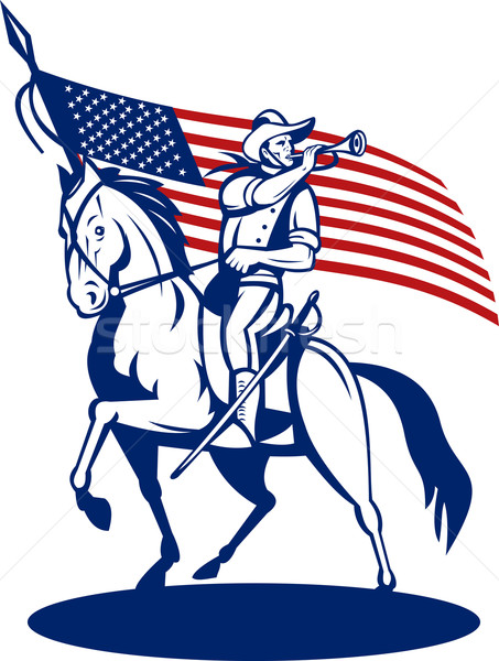 American cavalry soldier riding horse bugle and flag Stock photo © patrimonio