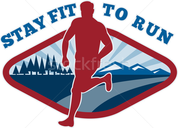 Marathon route coureur jogger fitness design graphique Photo stock © patrimonio