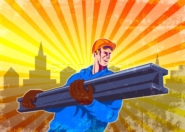 Steel Worker Carry I-Beam Retro Poster Stock photo © patrimonio