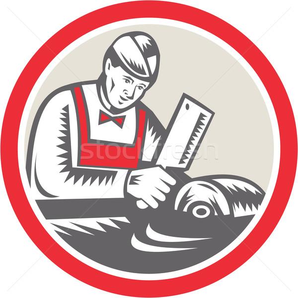 Slager cirkel retro illustratie werknemer vlees Stockfoto © patrimonio