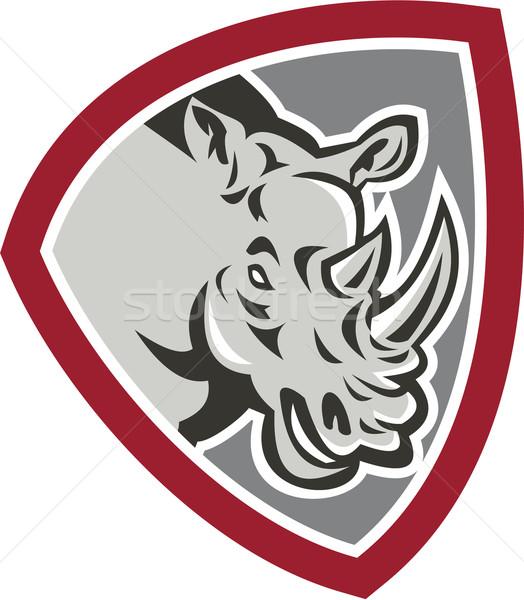 Rhinoceros Head Side Shield Stock photo © patrimonio