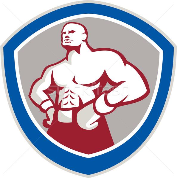 Boxer mani fianchi scudo illustrazione indossare Foto d'archivio © patrimonio