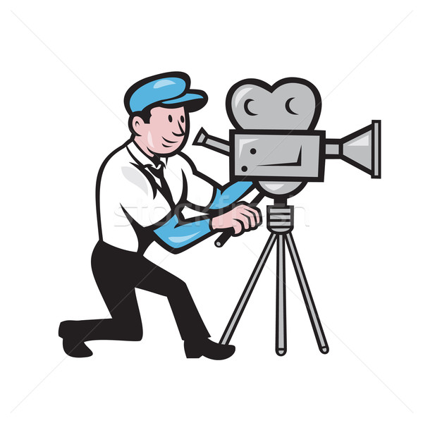 Cameraman Vintage Film Movie Camera Side Cartoon Stock photo © patrimonio