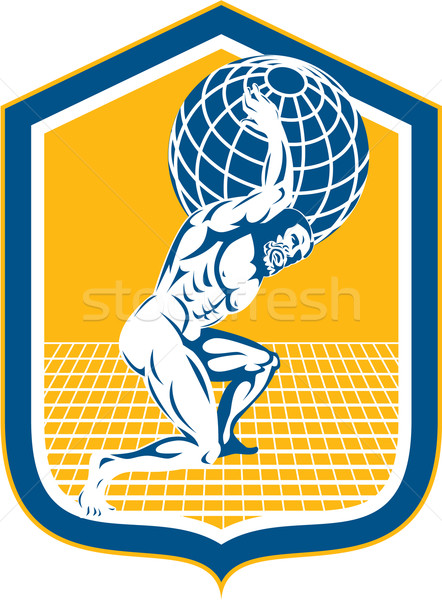 Atlas Carrying Globe on Shoulder Shield Retro Stock photo © patrimonio