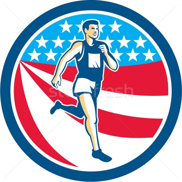 アメリカン マラソン ランナー を実行して サークル レトロな ストックフォト © patrimonio