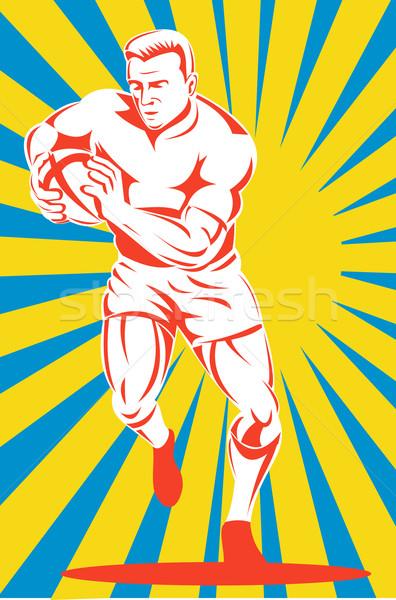 rugby player running ball yellow sunburst Stock photo © patrimonio