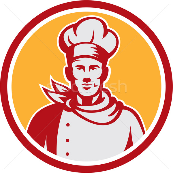 Stock photo: Baker Chef Cook Bust Front Circle Retro