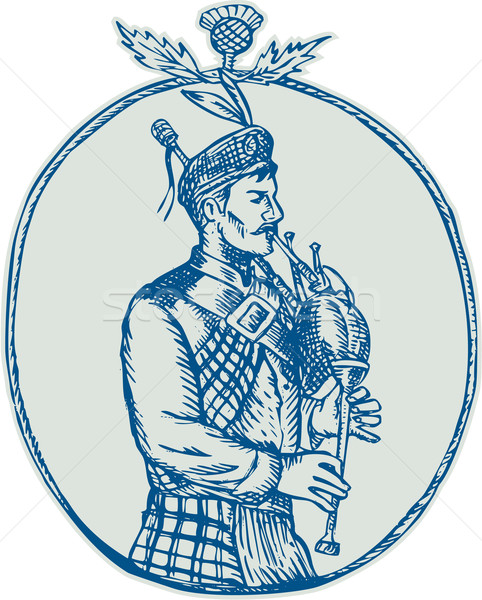 Scotsman Bagpiper Playing Bagpipes Etching Stock photo © patrimonio