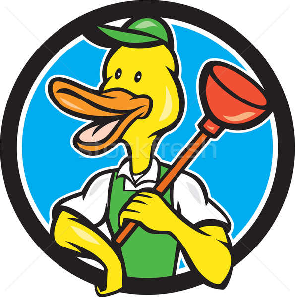 Duck Plumber Holding Plunger Circle Cartoon Stock photo © patrimonio