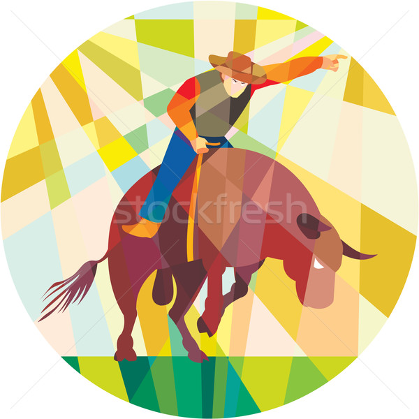 Rodeo Cowboy Bull Riding Pointing Low Polygon Stock photo © patrimonio
