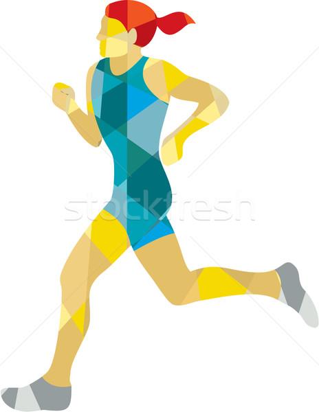 Female Triathlete Marathon Runner Low Polygon Stock photo © patrimonio