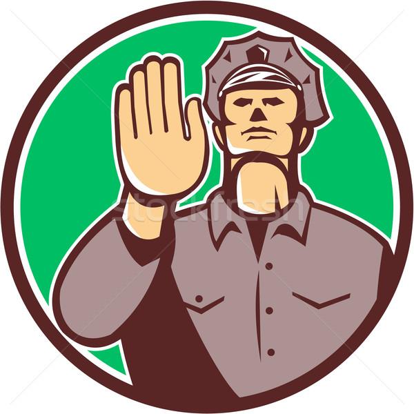 Traffic Policeman Hand Stop Sign Circle Retro Stock photo © patrimonio