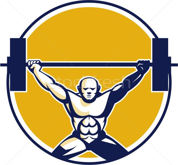 Weightlifter Lifting Weights Circle Retro Stock photo © patrimonio