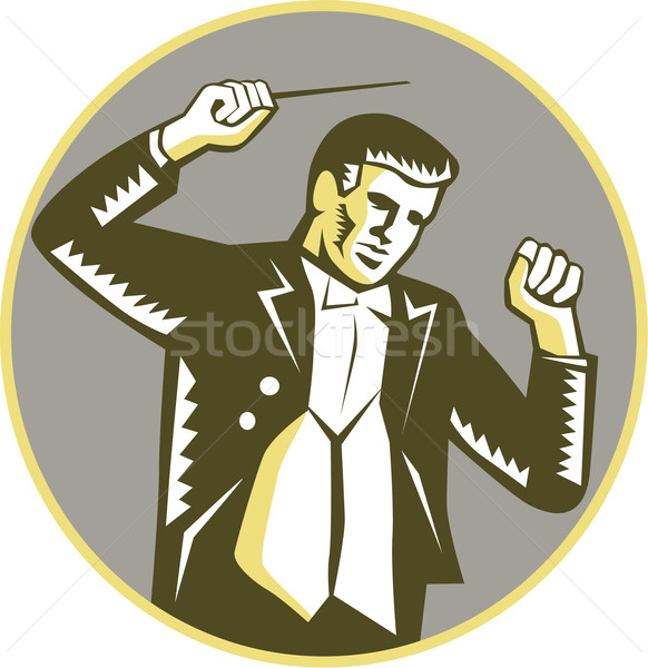 Conductor Waving Baton Circle Woodcut Stock photo © patrimonio