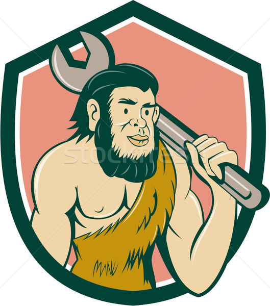 Neanderthal CaveMan With Spanner Crest Cartoon Stock photo © patrimonio