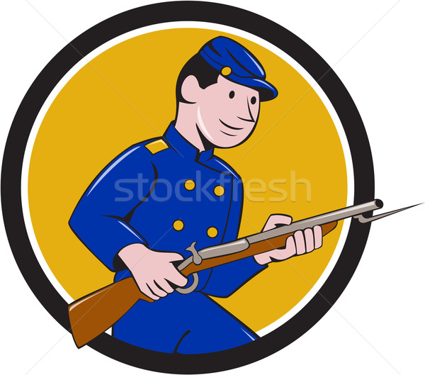 Union Army Soldier Bayonet Rifle Circle Cartoon Stock photo © patrimonio