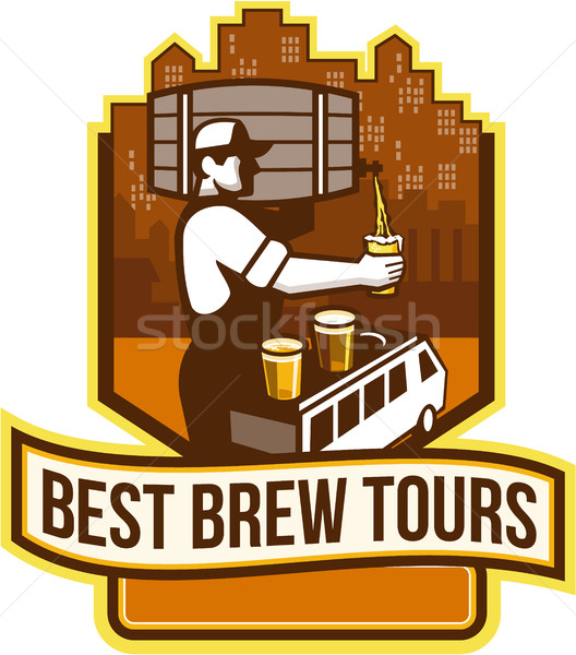 Bartender Pouring Beer Keg Cityscape Crest Retro Stock photo © patrimonio
