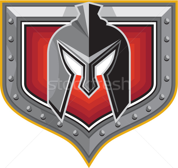 Spartan Helmet Shield Retro Stock photo © patrimonio