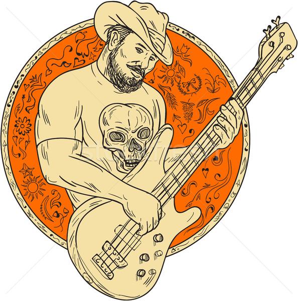 Kovboy oynama bas gitar daire çizim Stok fotoğraf © patrimonio